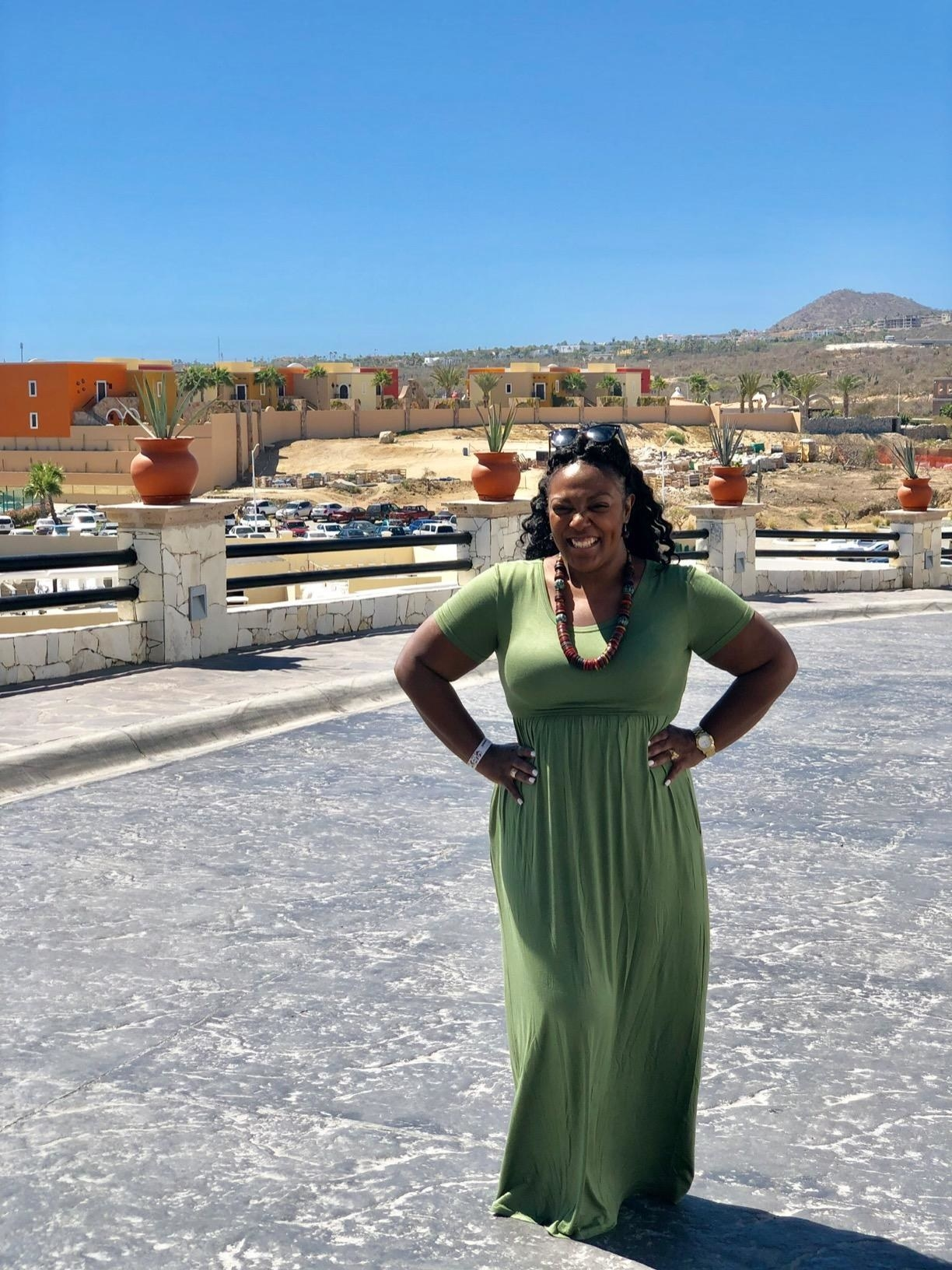 reviewer image of a customer wearing the army green DEARCASE short sleeve maxi dress outdoors
