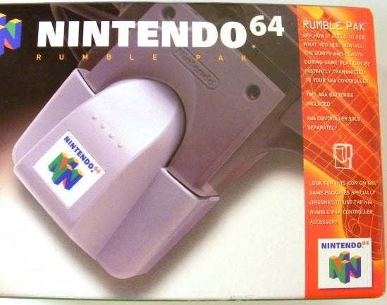 A photo of the box for the Nintendo 64 Rumble Pak
