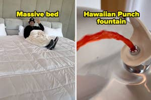 David Dobrik in his massive bed, and a hawaiian punch water fountain.