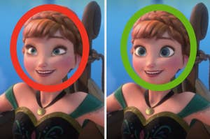 Does Anna have small eyes or large eyes?