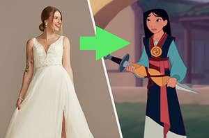 An arrow pointing from an A-Line wedding dress to Mulan