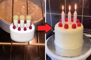The birthday cake emoji next to its real-life replica