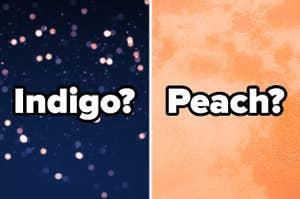 """Indigo?"" over indigo sparkles and ""Peach?"" over a textured peach background"