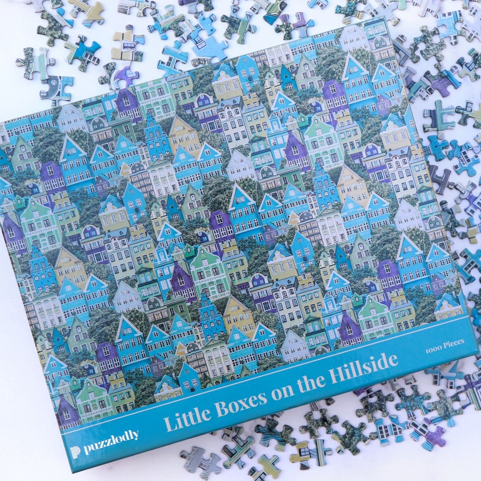 a puzzle showing a bunch of blue houses