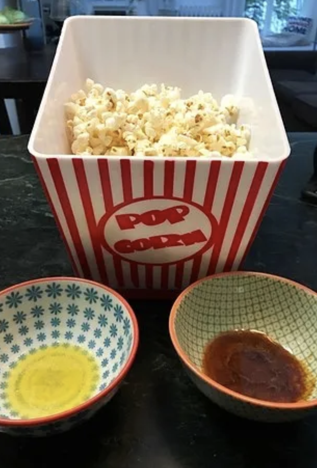 Popcorn, butter, and soy sauce.
