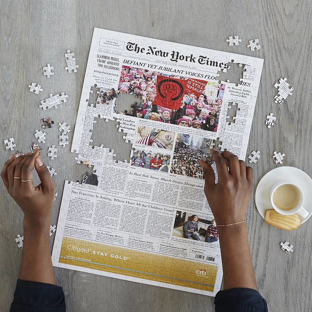 the front page of the new york times as a puzzle