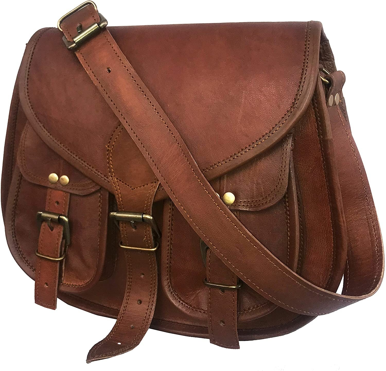 the saddle bag which has two front pockets and three buckle closures