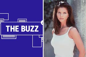 Splitscreen of purple graphic with THE BUZZ in white letters on the left side and a photo of Charisma Carpenter on the right side (CREDIT: @JACKBLACK/TWITTER)