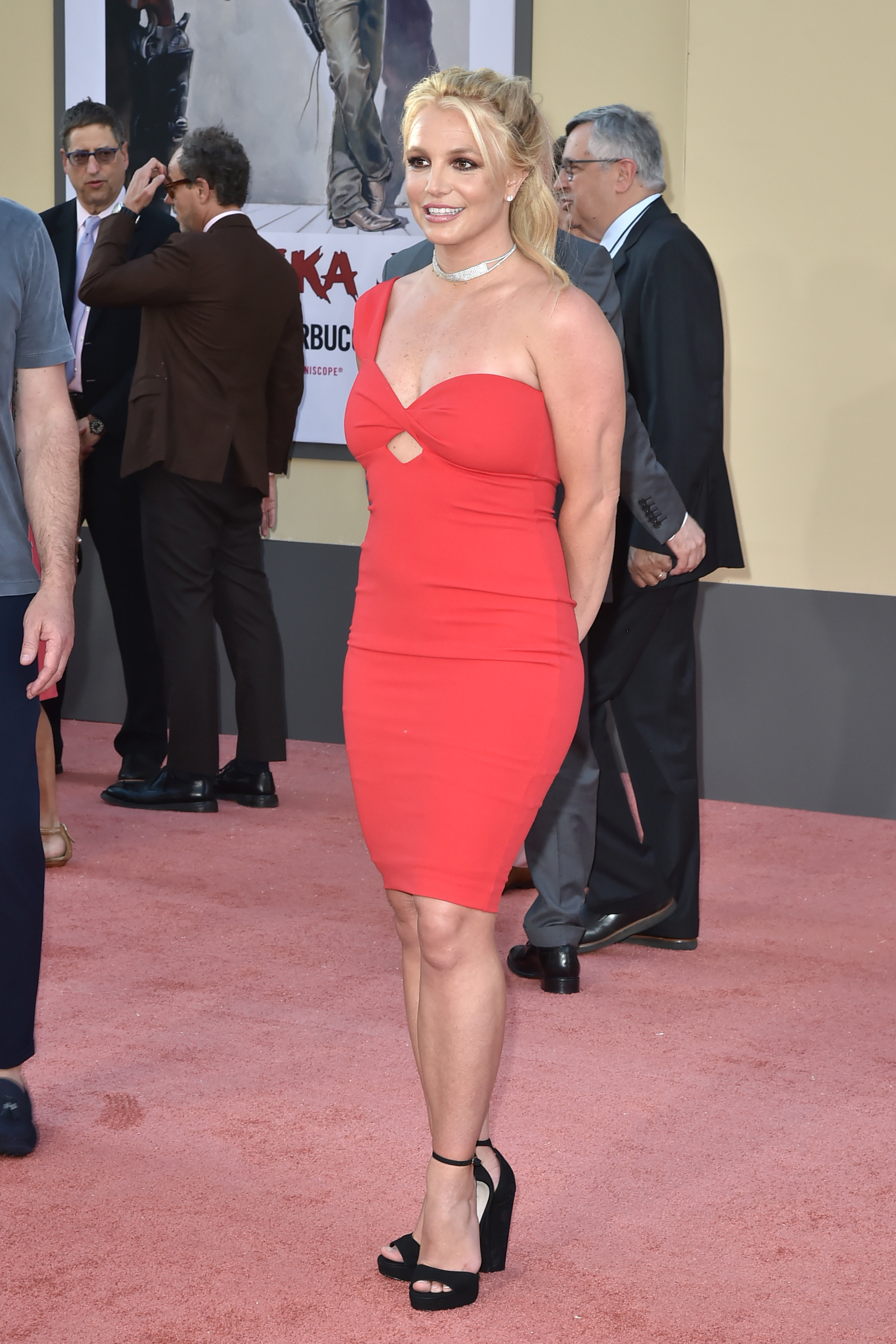 Britney Spears stands on the red carpet at the Once Upon A Time In Hollywood premiere in Hollywood