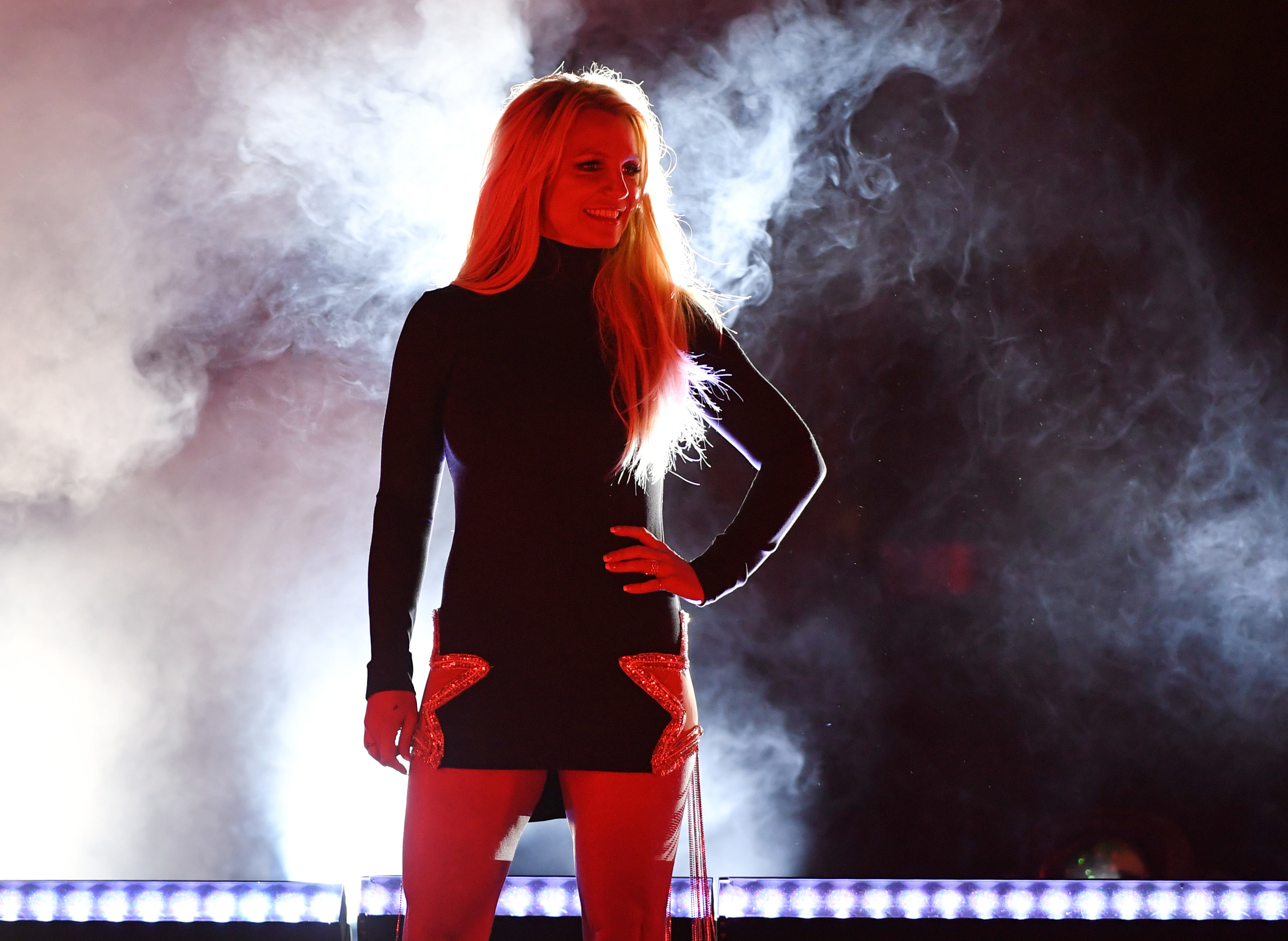 Spears stands on stage at the announcement of her since-cancelled Las Vegas residency Britney Domination