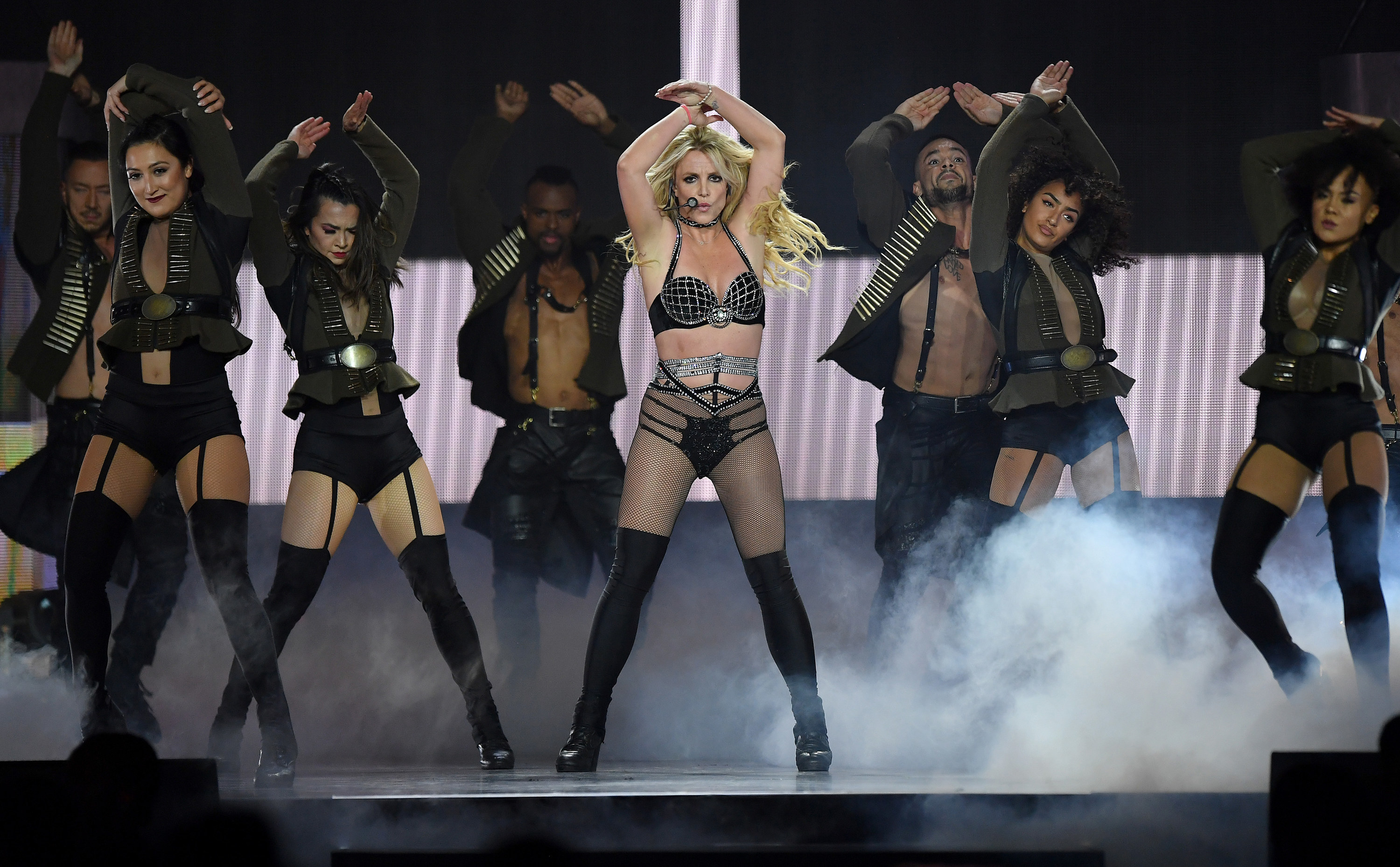 """Britney Spears performs during the """"Piece of Me"""" tour in 2018"""