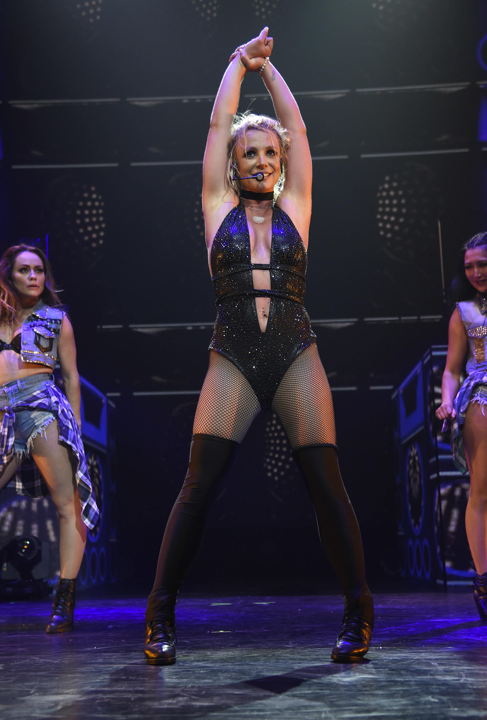 """Spears on the """"Piece of Me"""" tour in 2008"""
