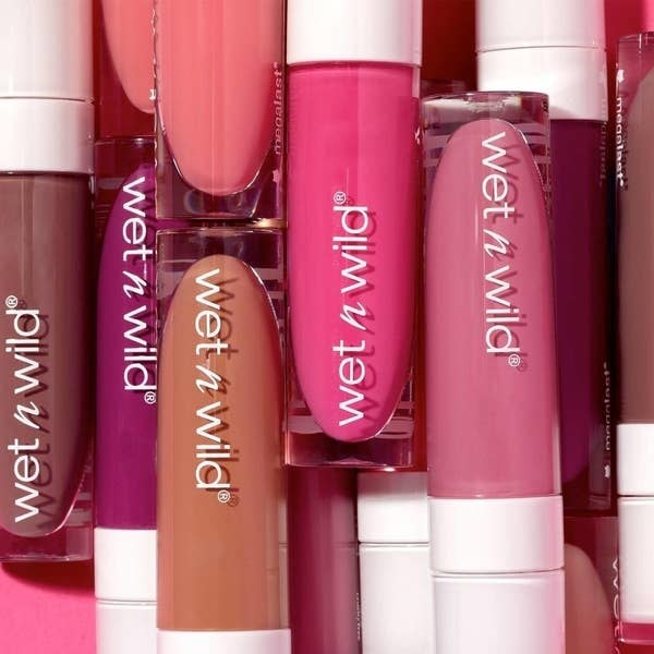 The liquid lipsticks in shades of pink, purple, and beige