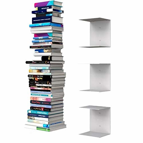 A set of invisible bookshelves with books