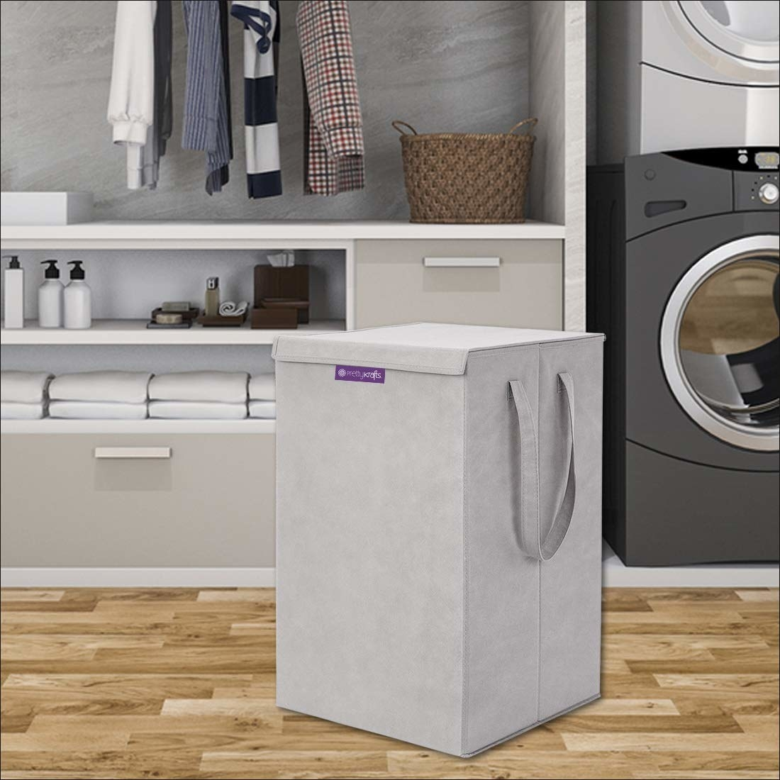 A grey laundry basket on the floor