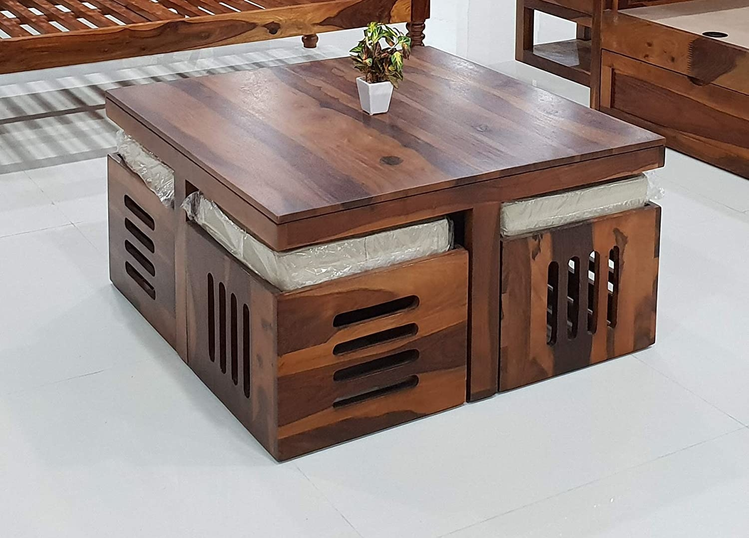 A table with 4 stools inside of it