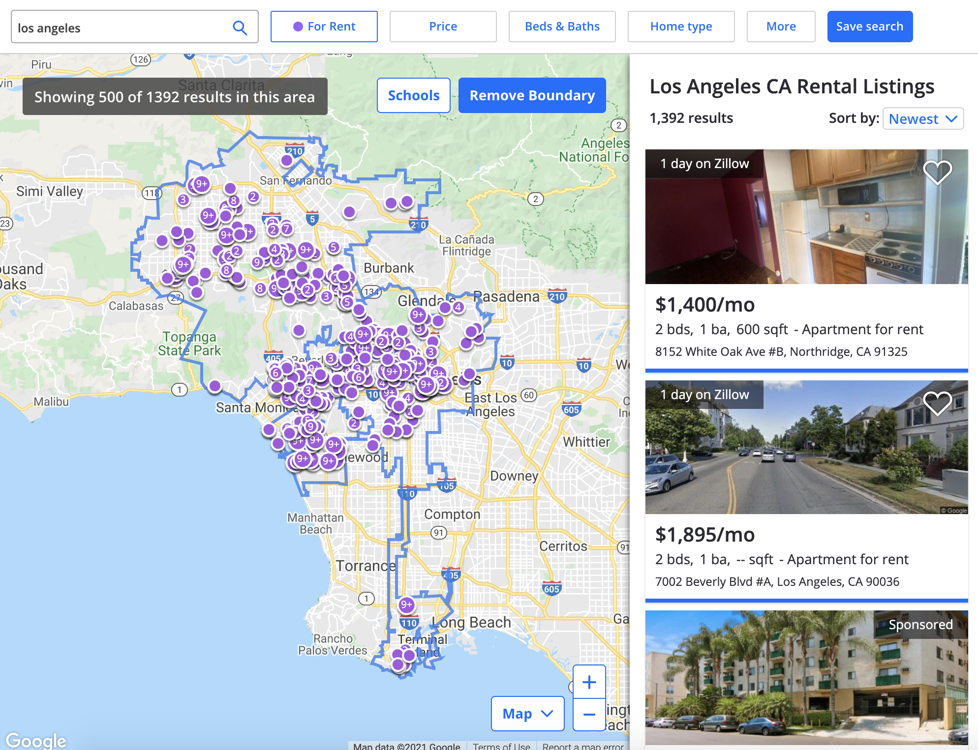 screengrab of zillow.com showing properties for rent on a map of los angeles