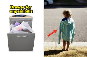 A drawer filled with unpaid bills on the left, and a child wearing an oversized sweatshirt on the right