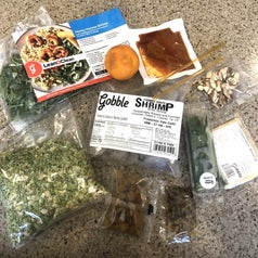 Reviewer's various ingredients for the Honey Harissa Shrimp from the Gobble meal kit