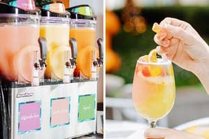 Slushy machines filled with pastel frosé and a close up of a glass filled with frosé and gummys