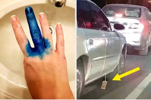 A hand is dyed blue