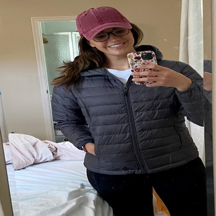 Reviewer's photo of their charcoal heather puffer jacket