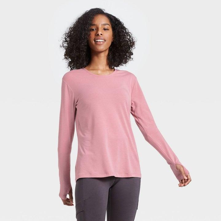 Model in wrap back long sleeve tshirt