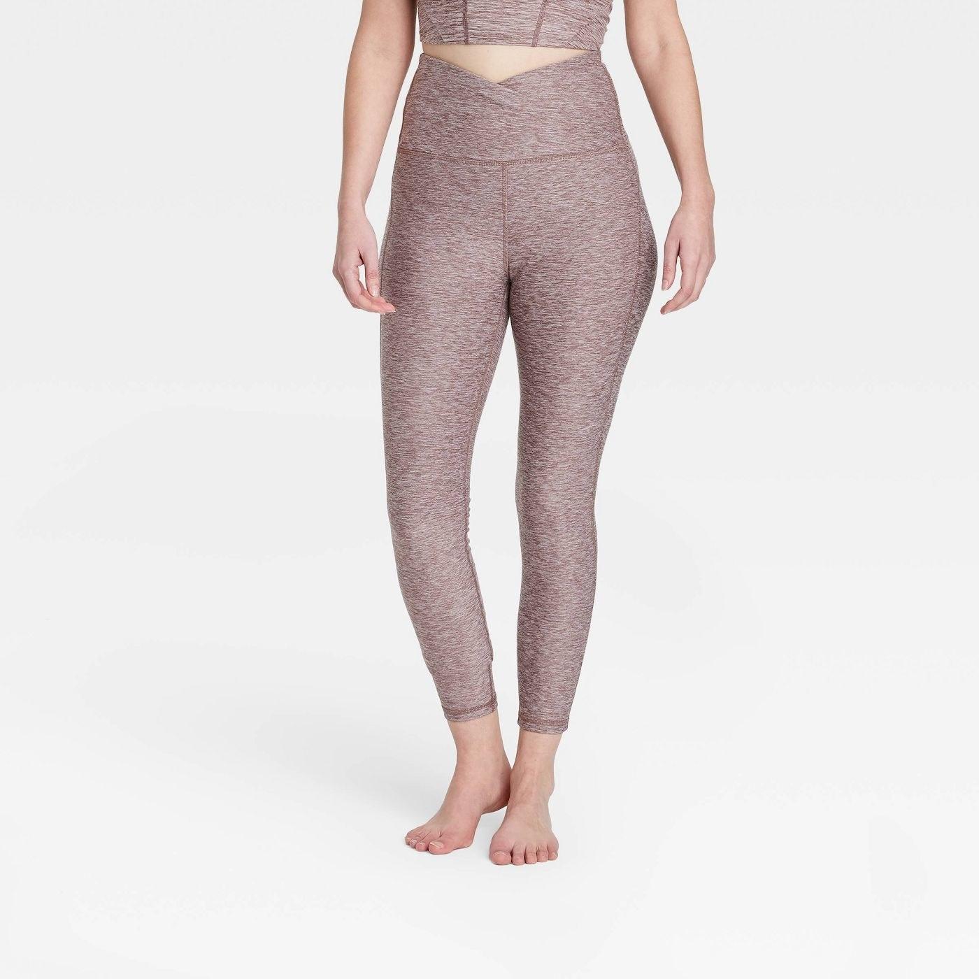 Model in ultra high waisted leggings