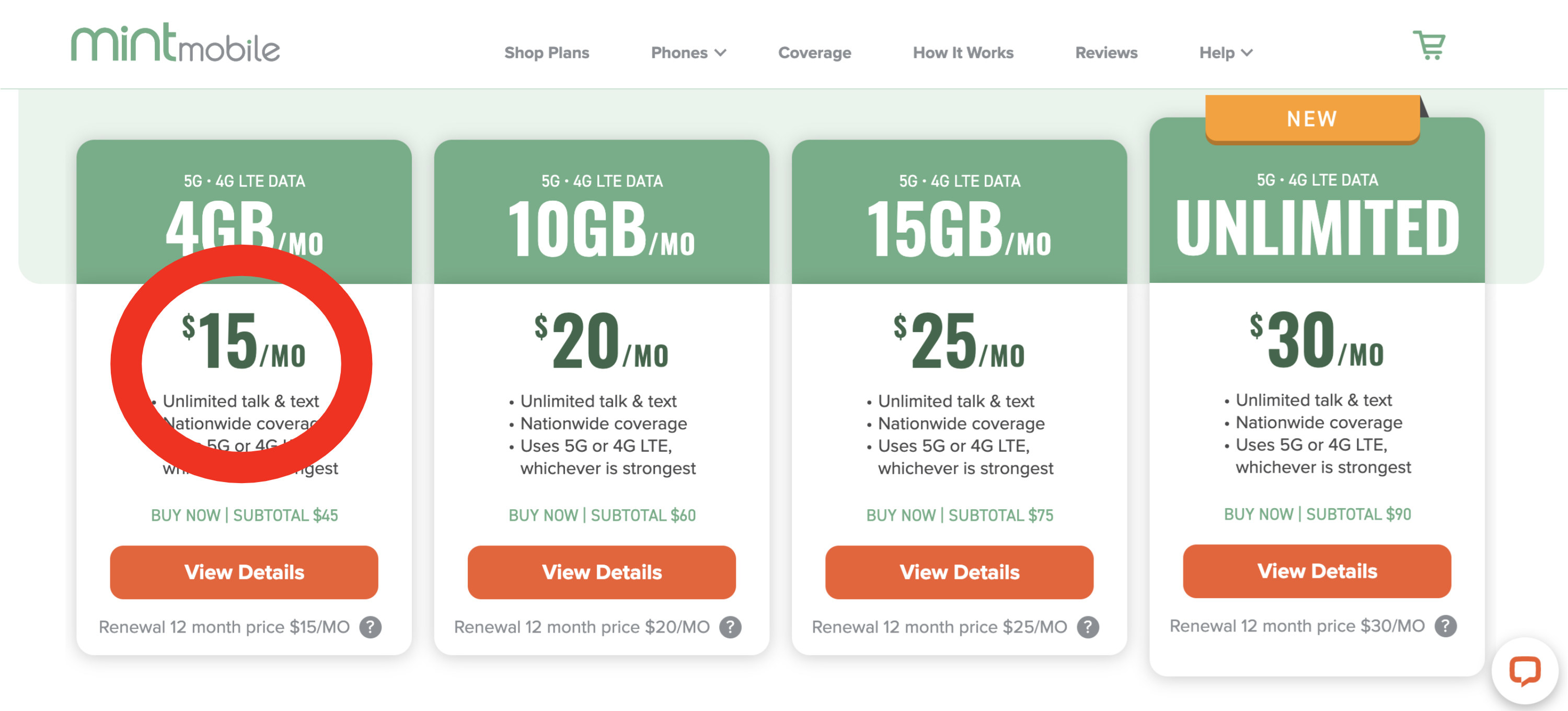 different mint mobile plans available ranging from $15 to $30/month