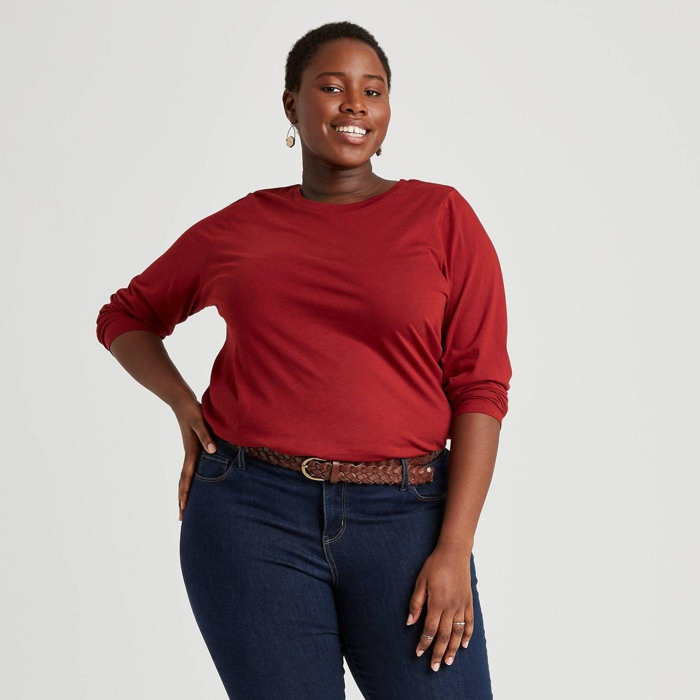 Model in long sleeve shirt