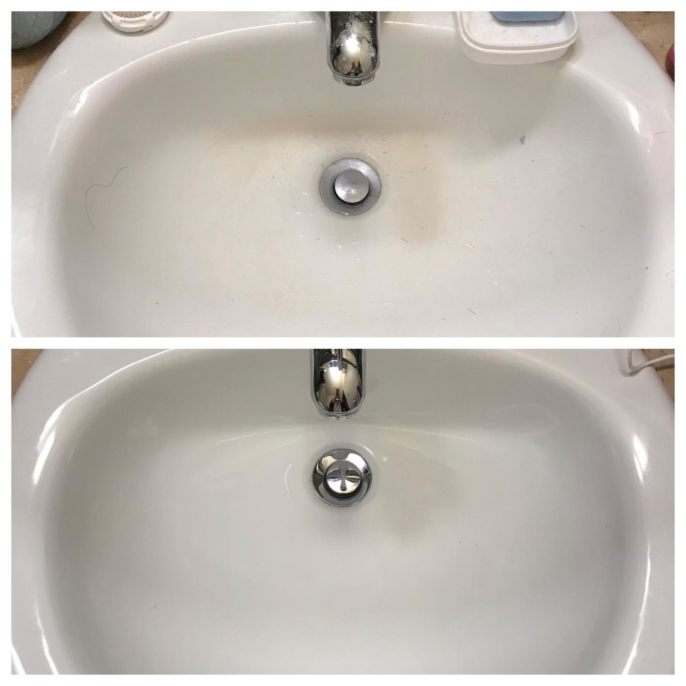 Reviewer photo of bathroom sink before and after using Bar Keepers Friend