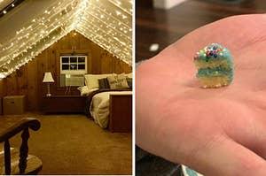 left, lights, right, tiny cake