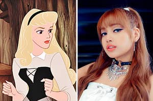 An image of Aurora from Sleeping Beauty next to an image of Lisa from Blackpink