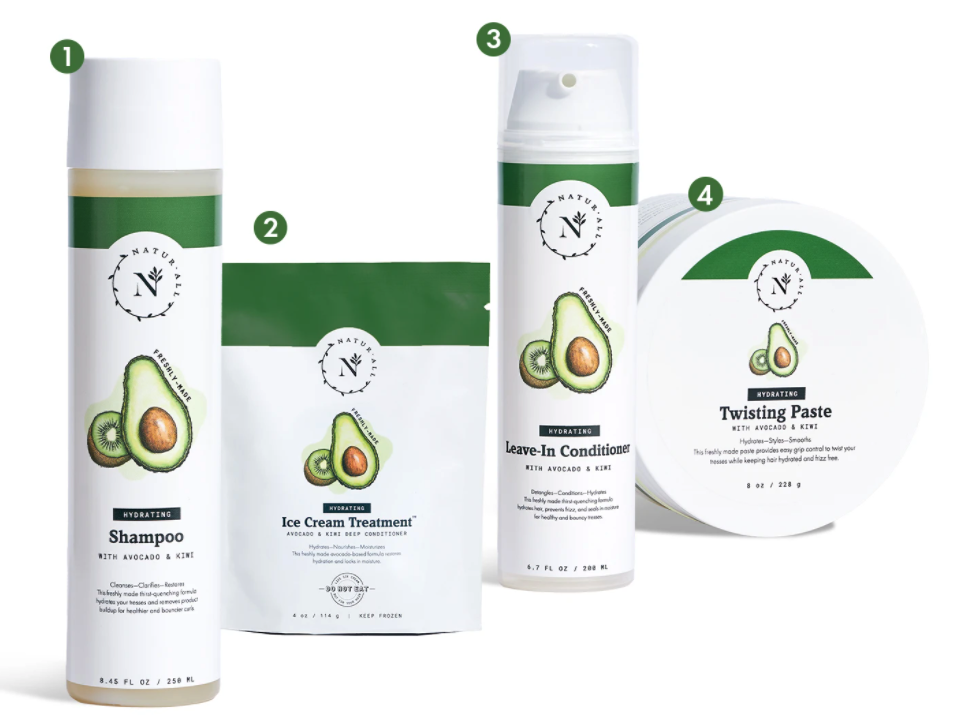 the four products including shampoo, deep conditioner, leave-in conditioner, and twisting paste