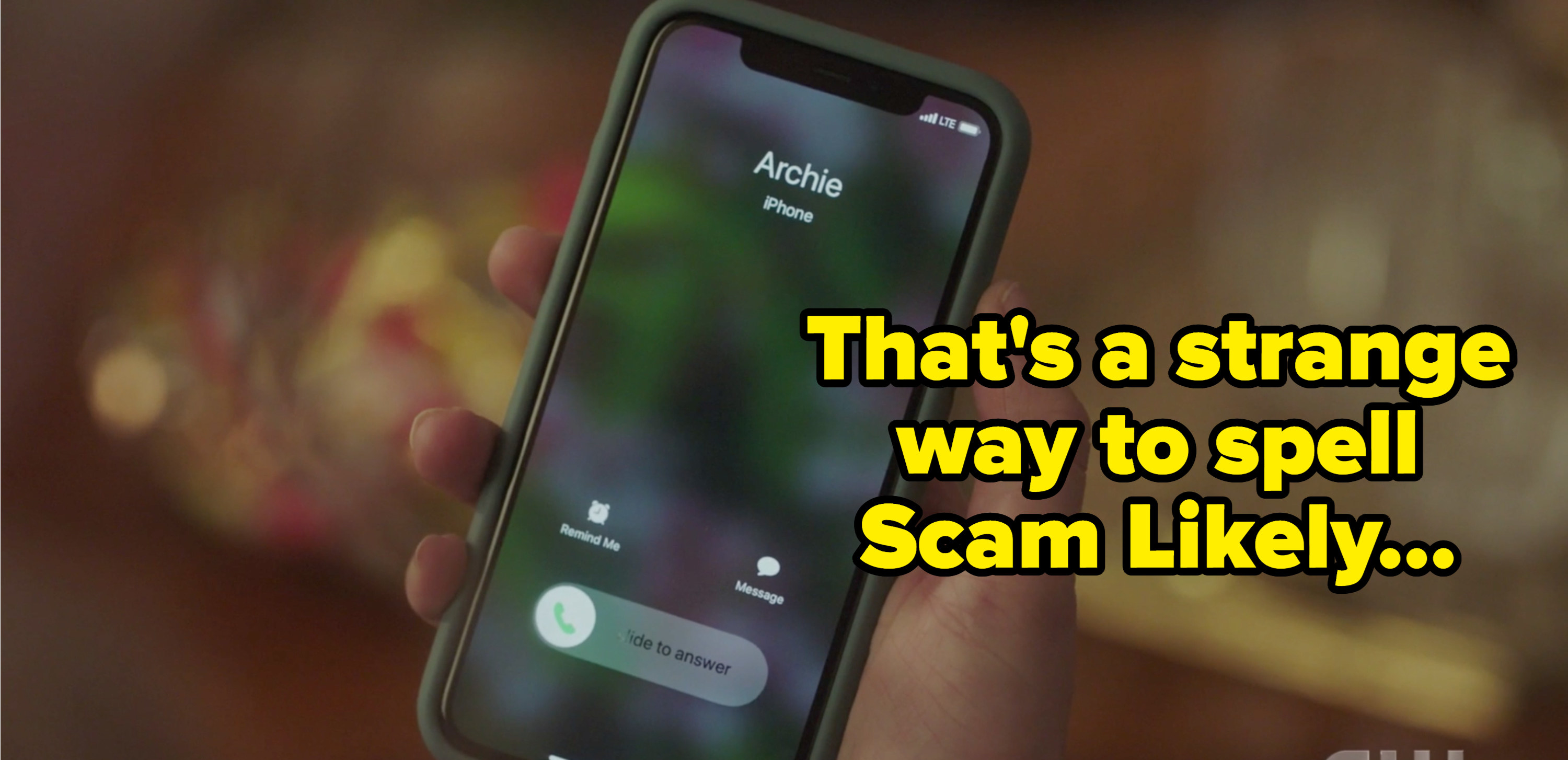 """Archie calling Betty with the caption """"that's a weird way to spell scam likely"""""""