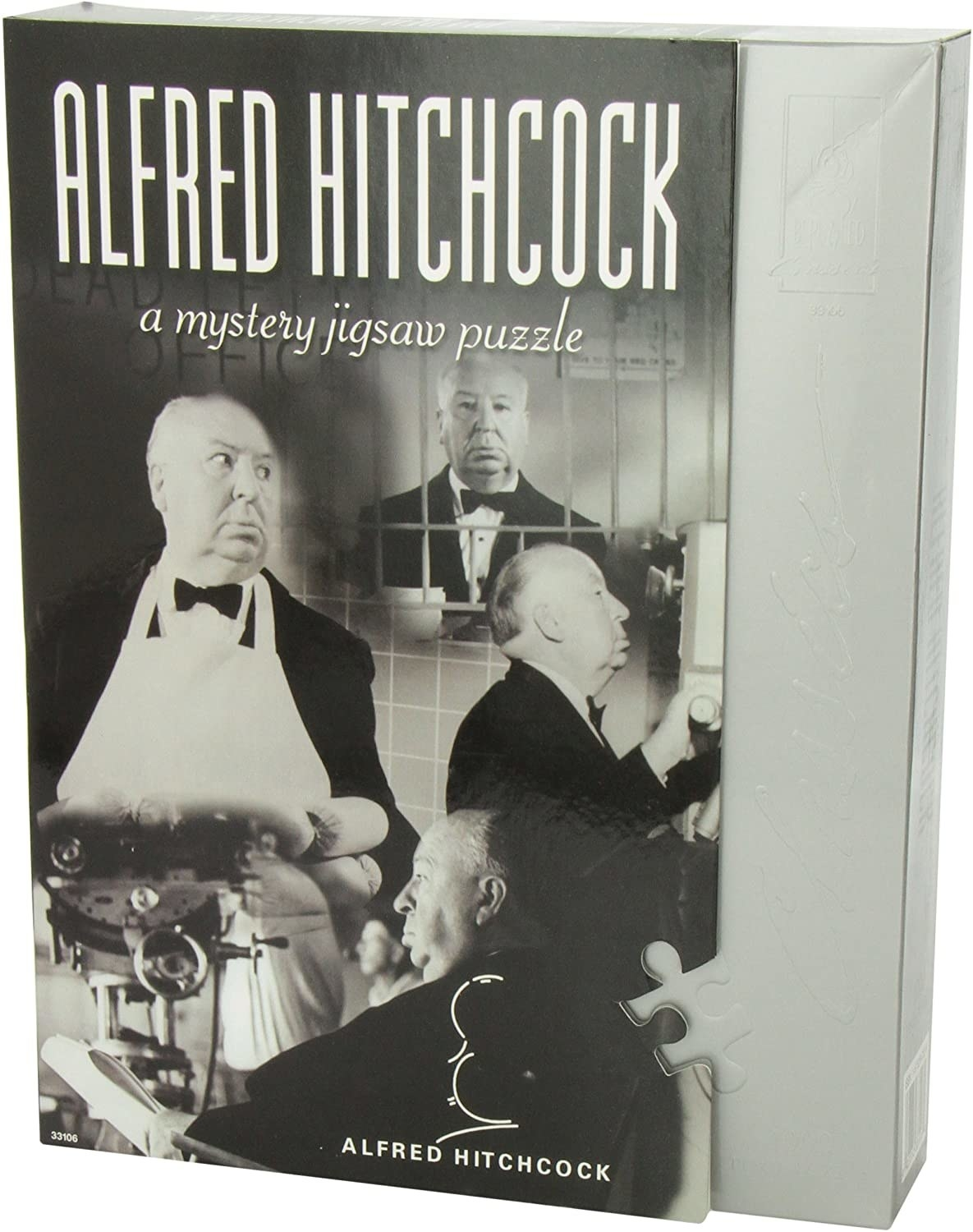 the mystery puzzle with a bunch of images of alfred hitchcock on the packaging