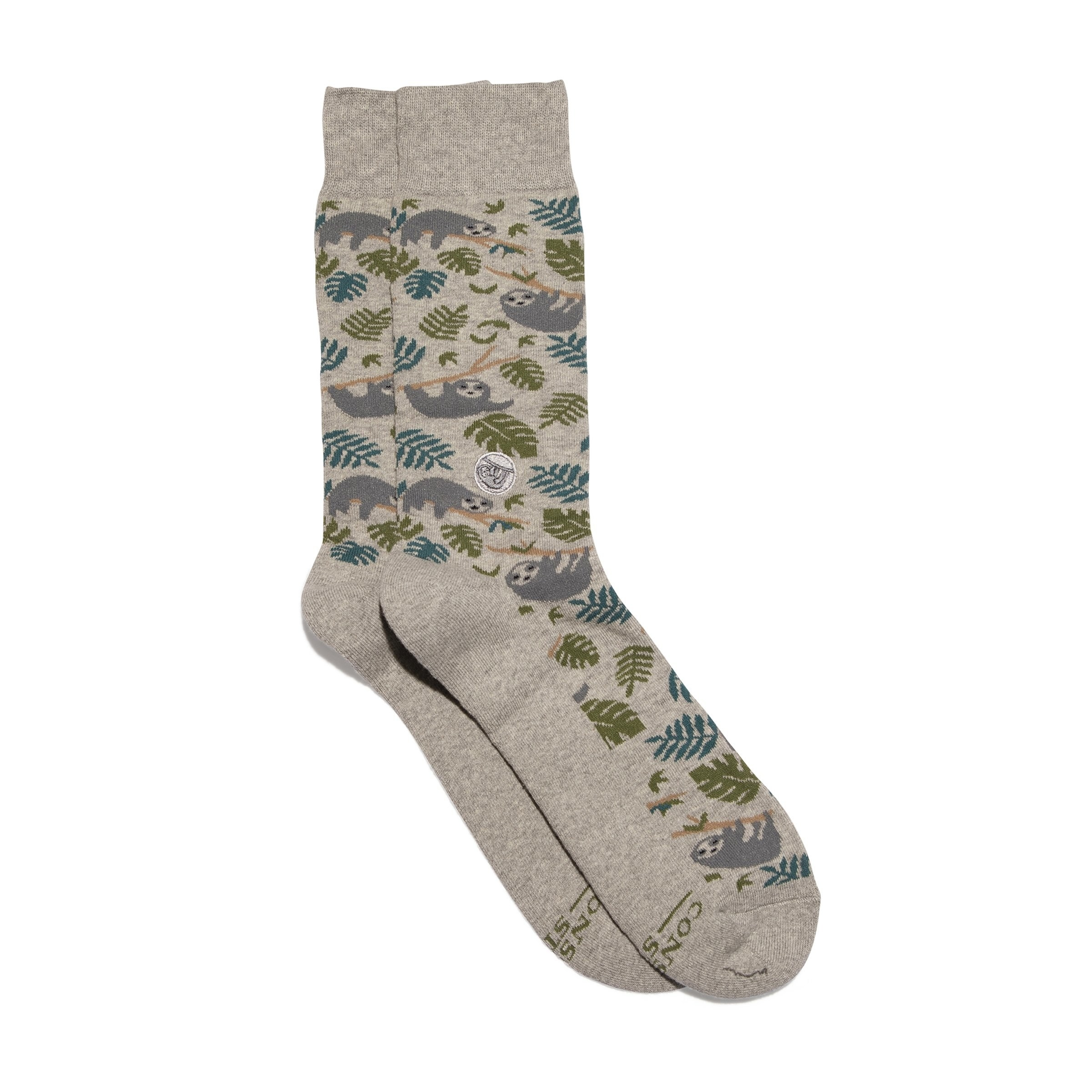 The socks covered in cute sloth and leaf illustrations