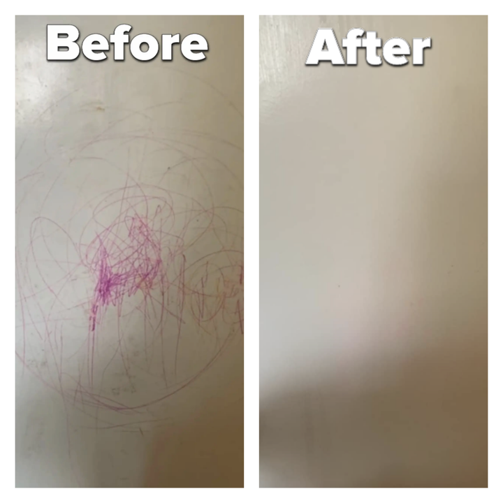 reviewer before and after photos of cleaning wall with marker on it