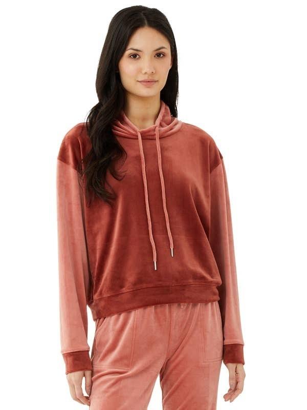 Model wearing sweatshirt