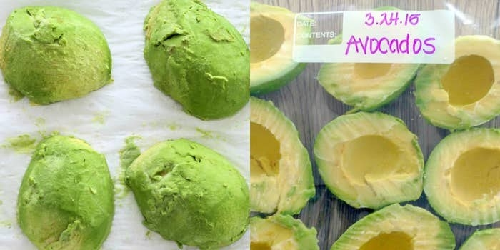 Frozen avocado halves.