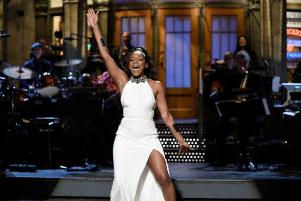 Haddish performing her opening monologue