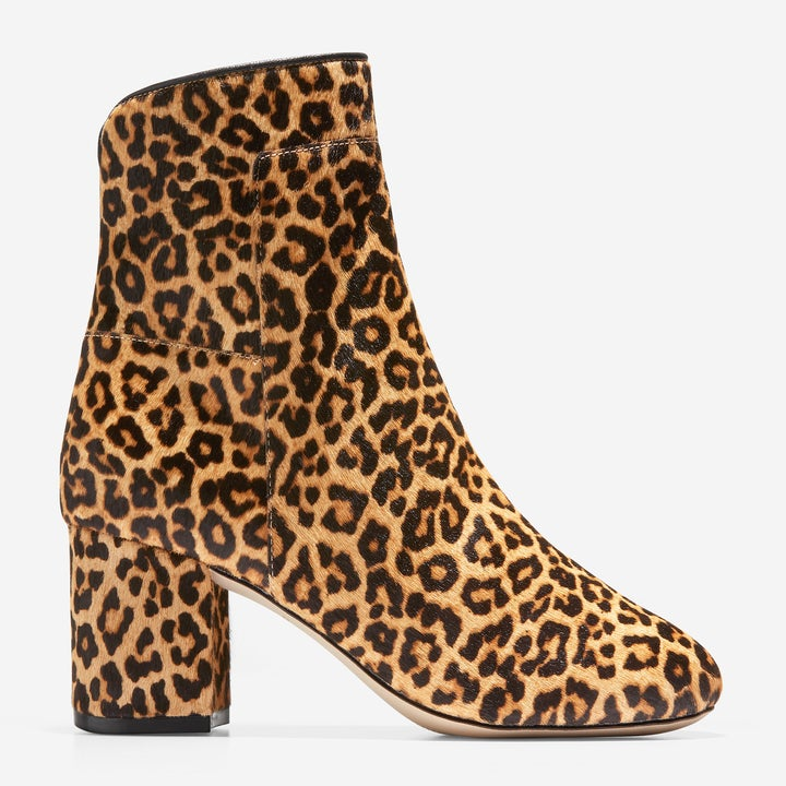leopard-print bootie with pointed toe