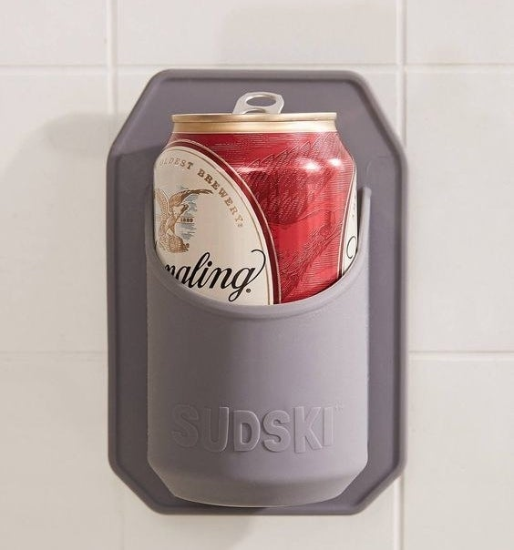 A beer can in the shower beer holder
