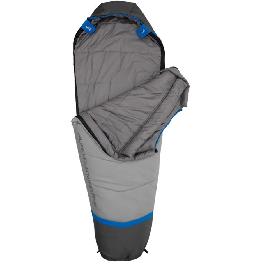 the gray mummy-shaped sleeping bag with the blue