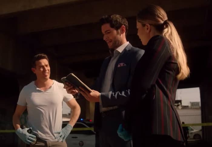 Lucifer and LA detectives looking at a crime scene