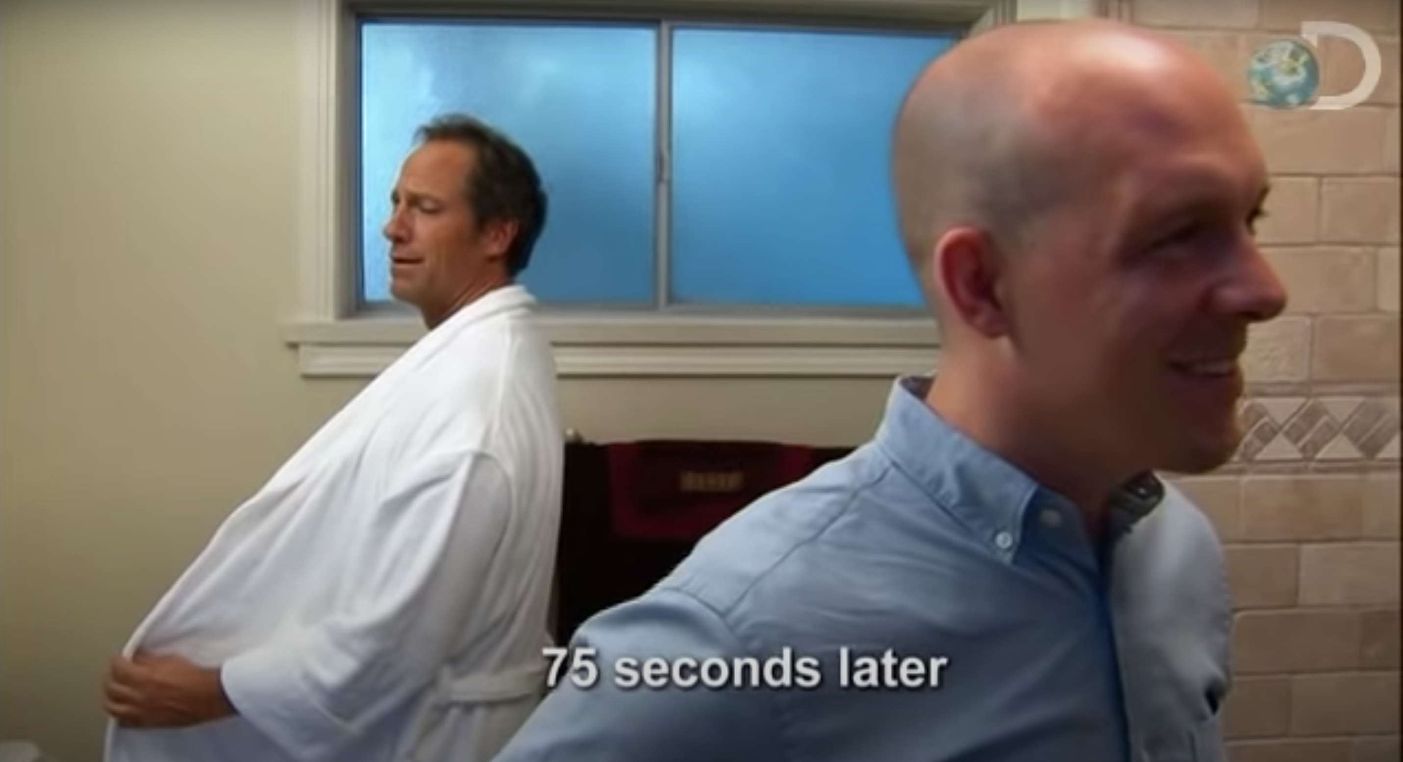 Mike holding his robe open and peeing into a toilet as Dr. Don waits with his back to him