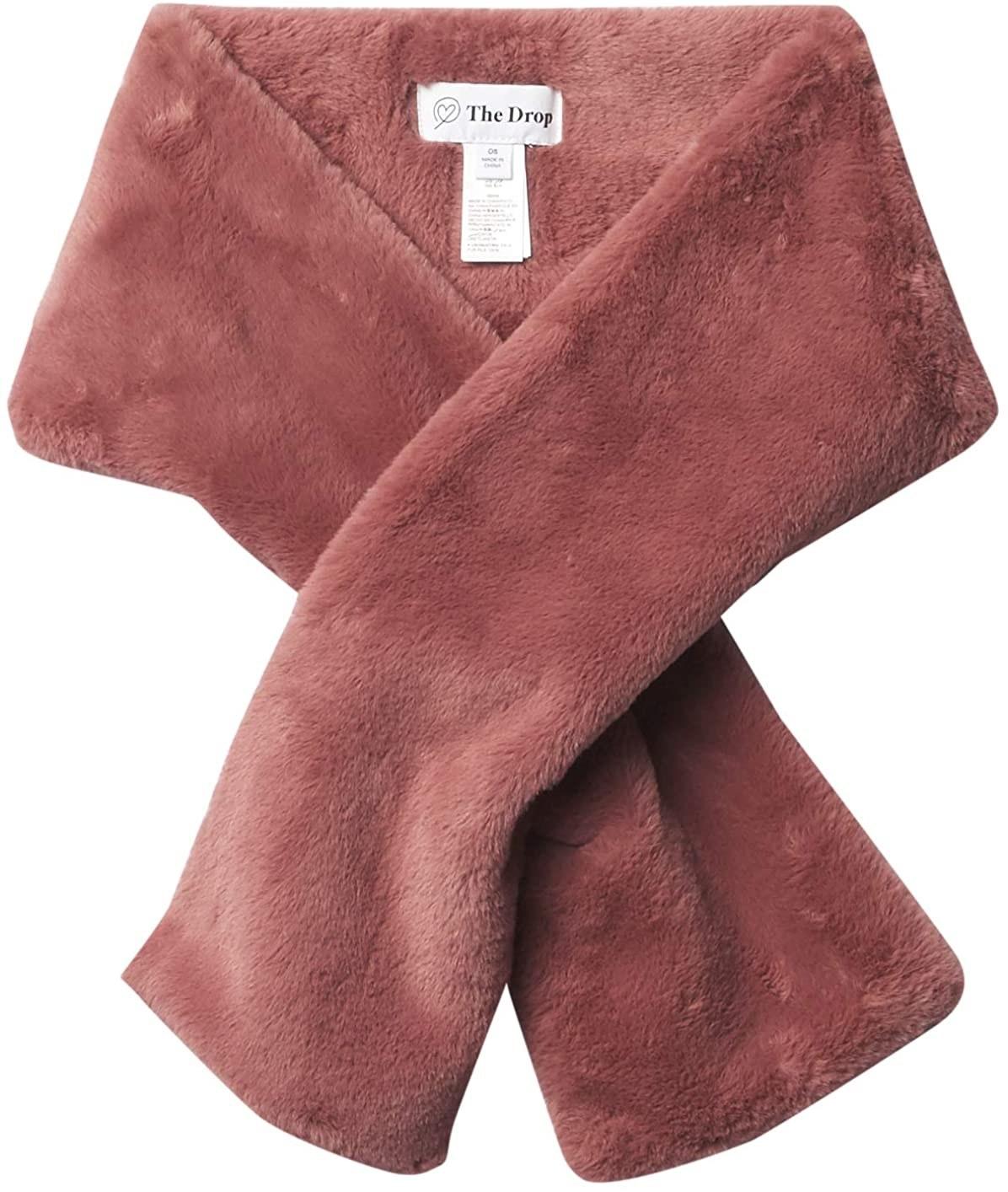 Rose mauve faux fur scarf