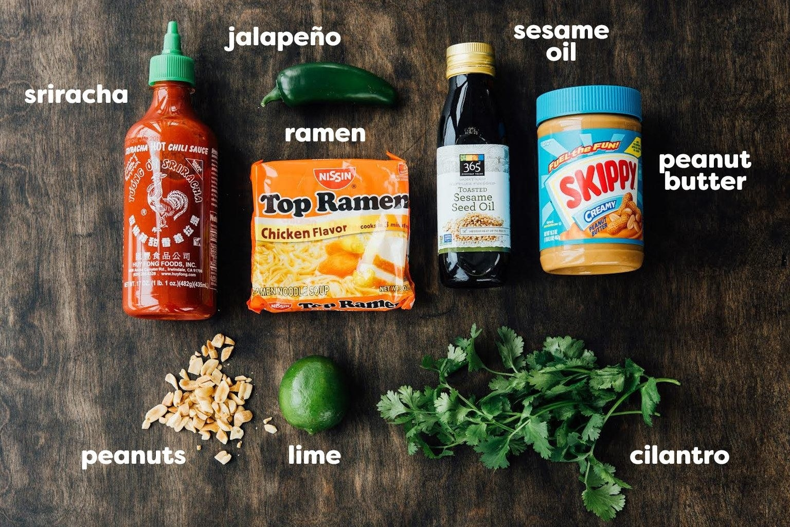 Ingredients for upgraded Instant ramen.