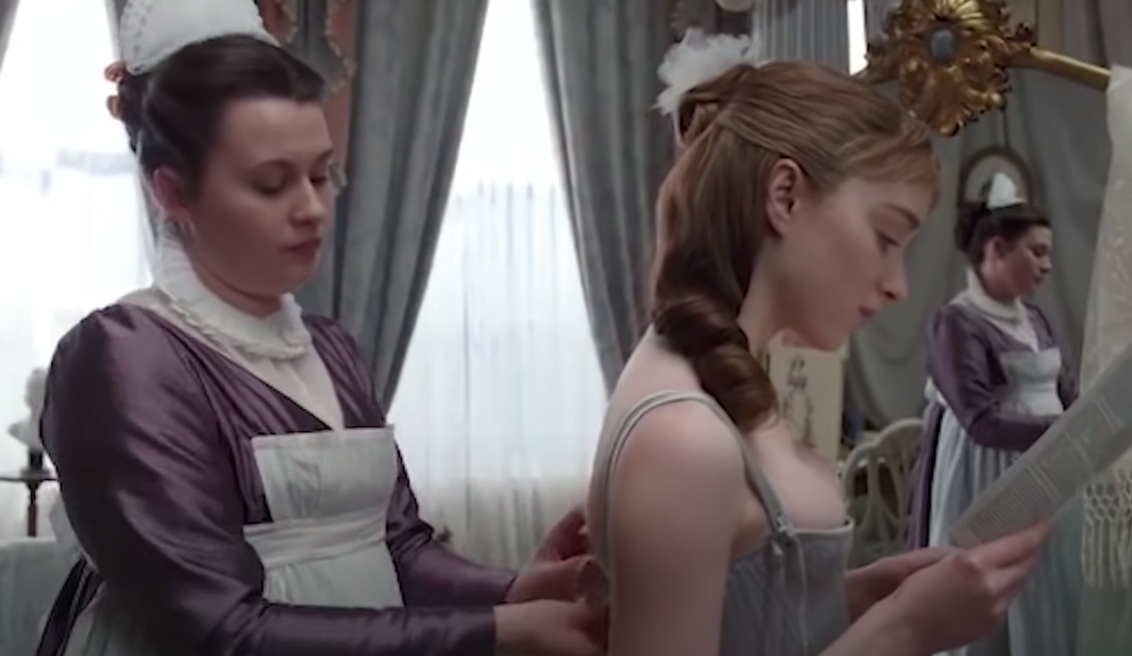 """Daphne on """"Bridgerton"""" getting laced into her corset"""