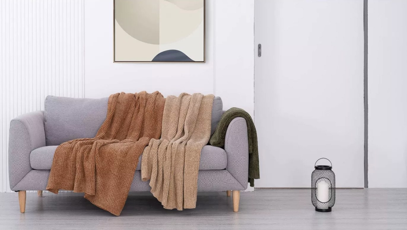 The chenille waffle knit throw in different colors